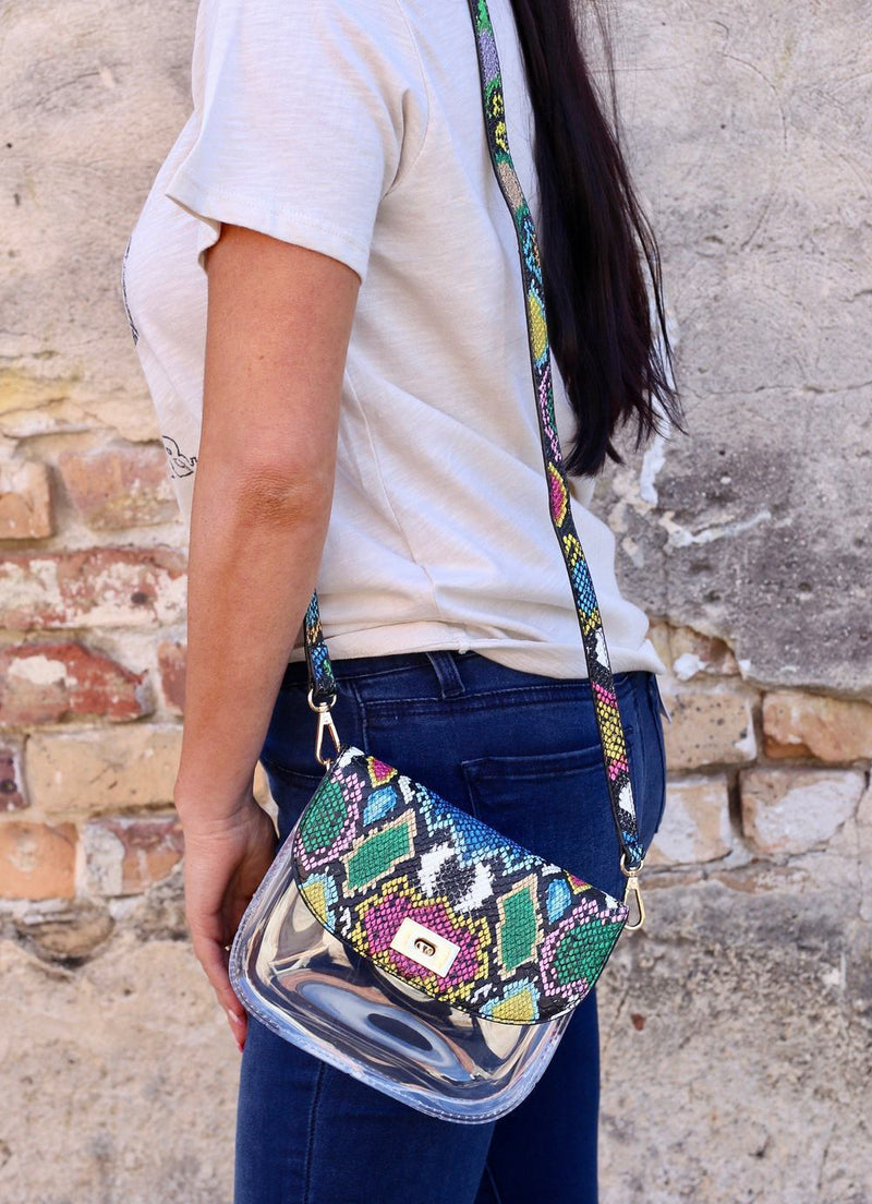 Varsity Snake Multi Graffiti Clear Crossbody Bag - Caroline Hill