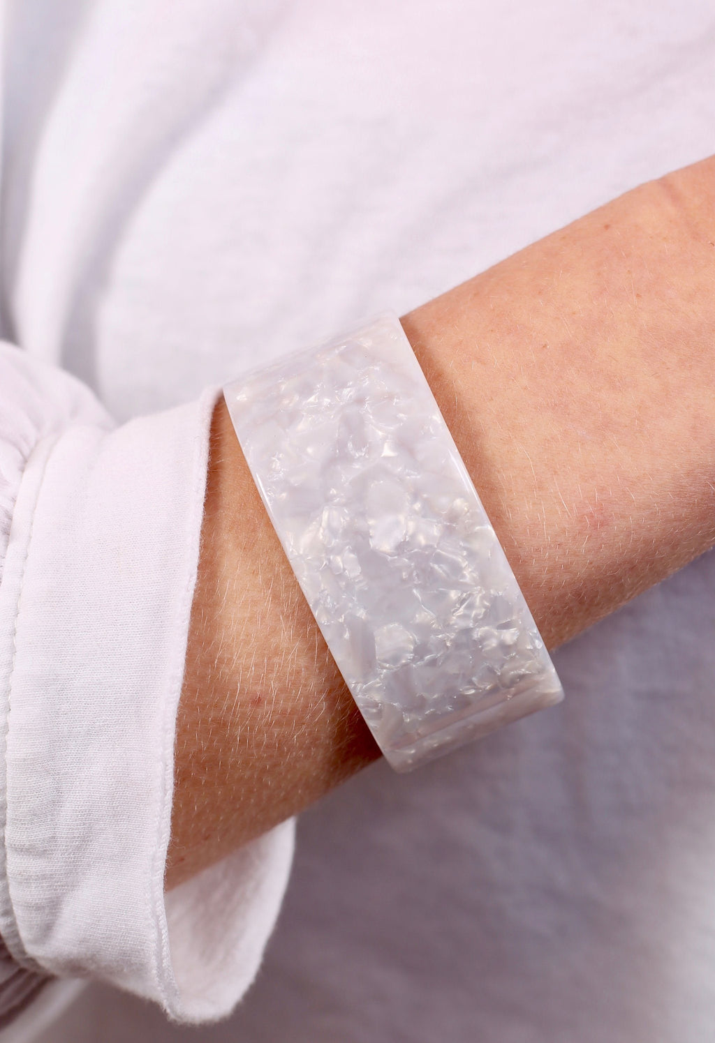 Vereen Wide White Resin Cuff - Caroline Hill