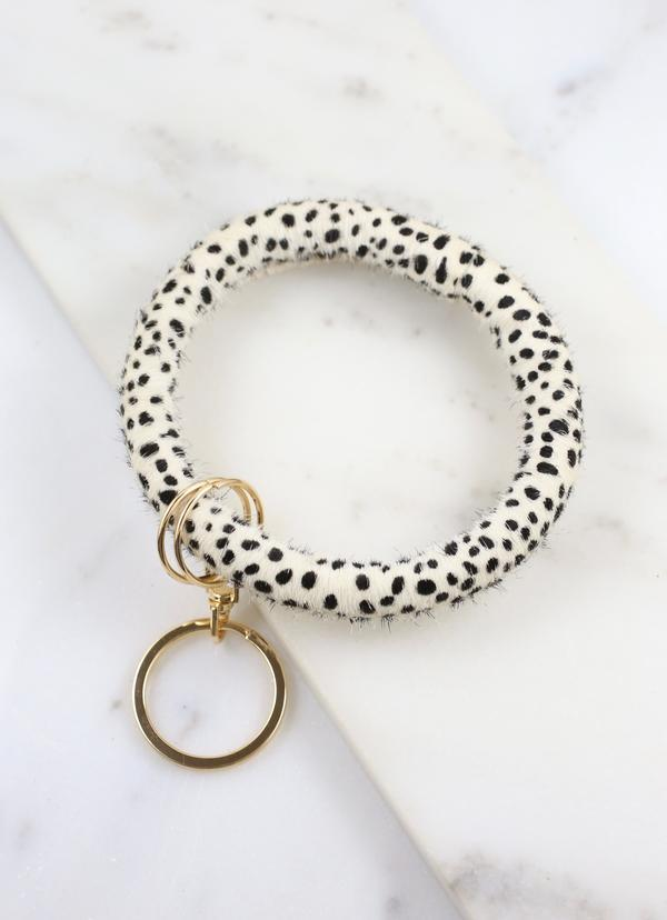 Vickers Animal Print Bracelet Keychain Black White - Caroline Hill