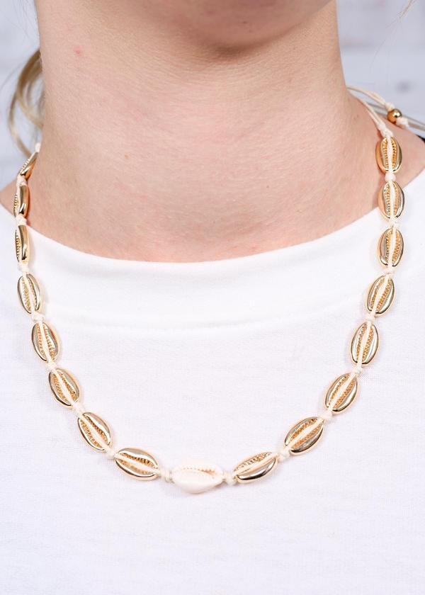 Victoria Corded Shell Necklace Gold - Caroline Hill