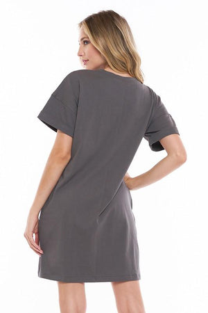 Walk With Me Gray Tee Dress - Caroline Hill