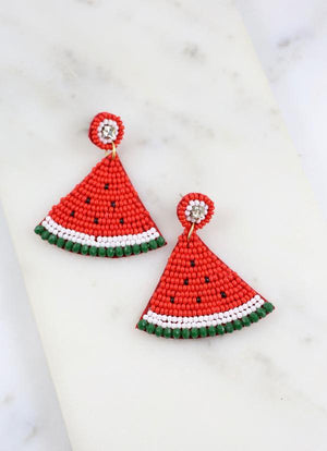 Watermelon Wedge Beaded Earring Red - Caroline Hill