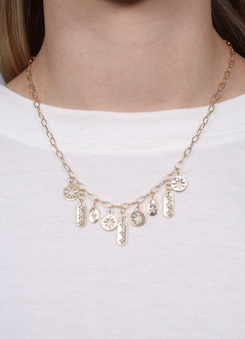 Weisser Gold Necklace with CZ Charms - Caroline Hill