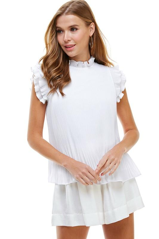 White Pleated Top - Caroline Hill