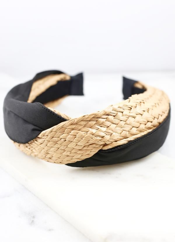 Whitewater Black Woven Headband - Caroline Hill