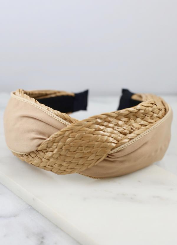 Whitewater Tan Woven Headband - Caroline Hill