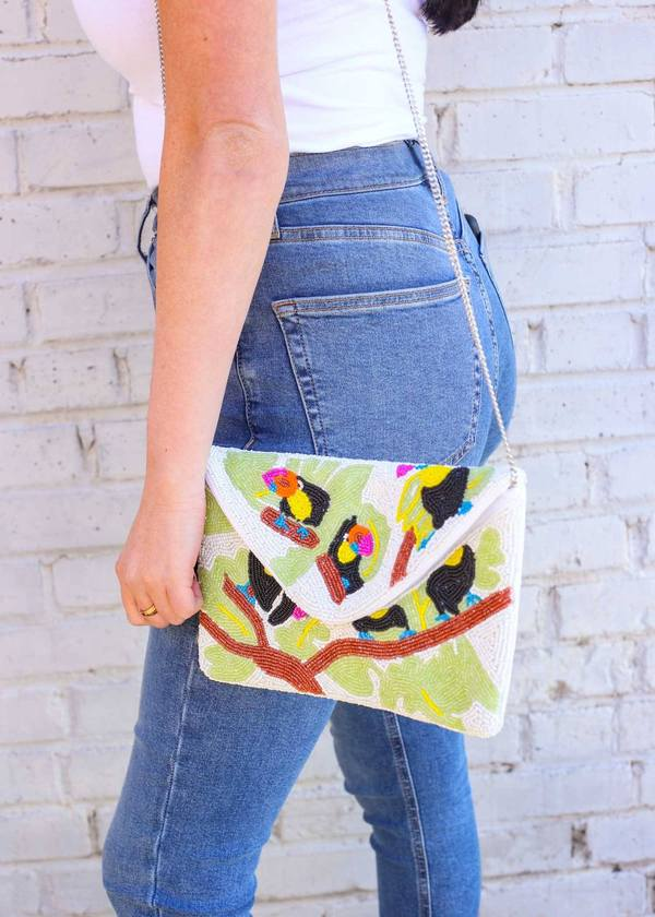 Tropical Toucan Beaded Clutch/Crossbody Green