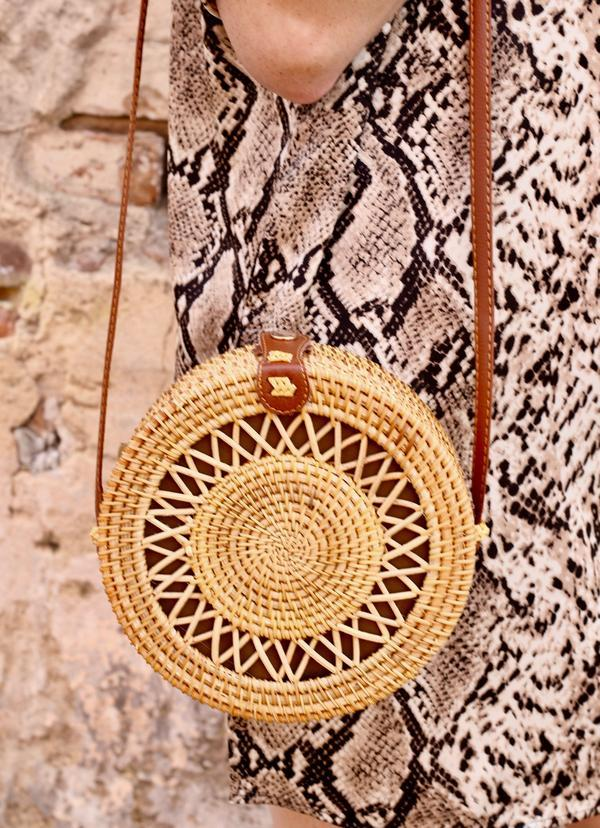 Wild One Round Straw Crossbody - Caroline Hill