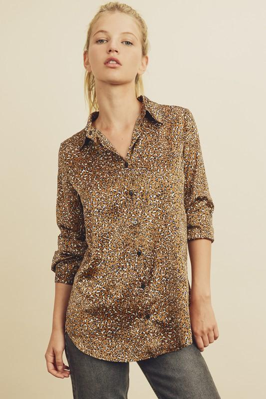 Wildcat Satin Button Down Top - Caroline Hill