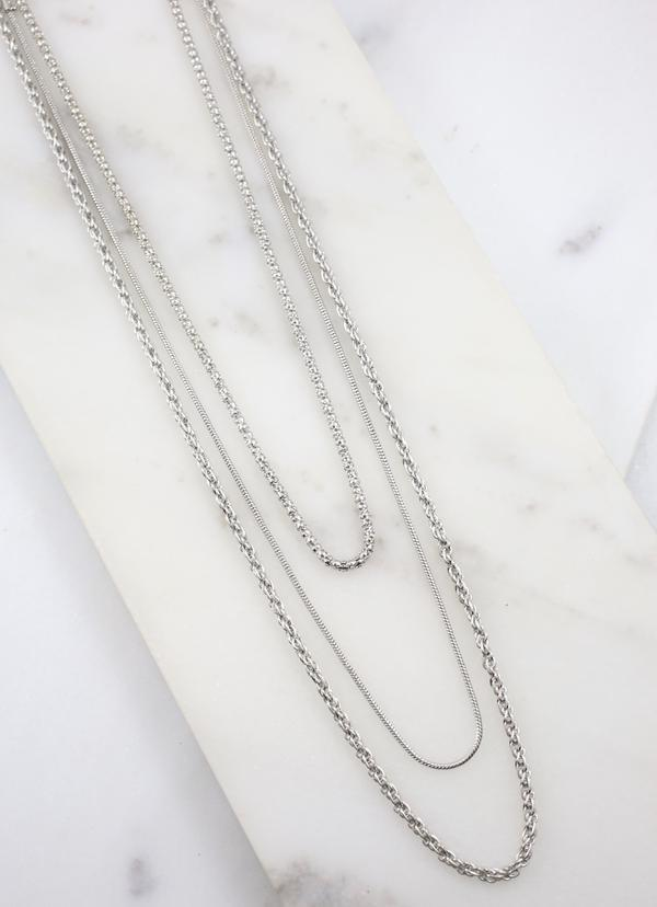 Wilder Three Piece Necklace Set Silver - Caroline Hill