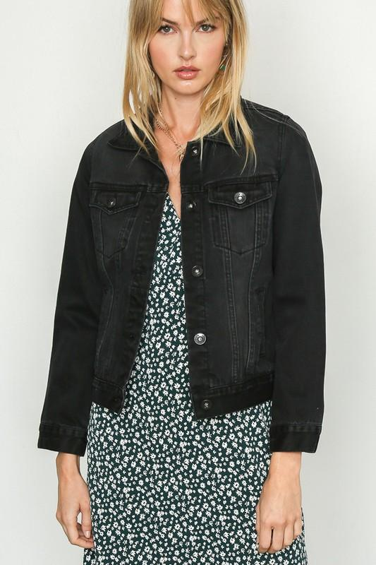 Wishing You Well Black Denim Jacket - Caroline Hill