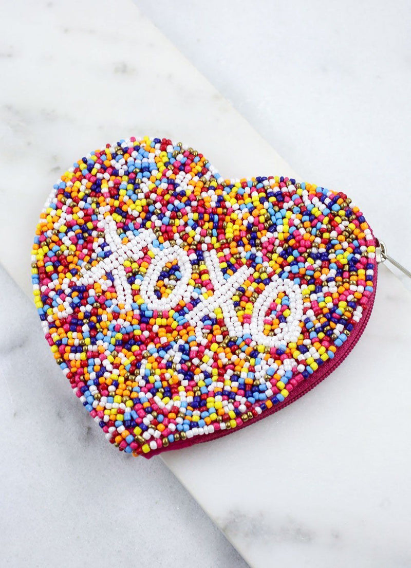 Xoxo Beaded Heart Coin Purse Multi - Caroline Hill