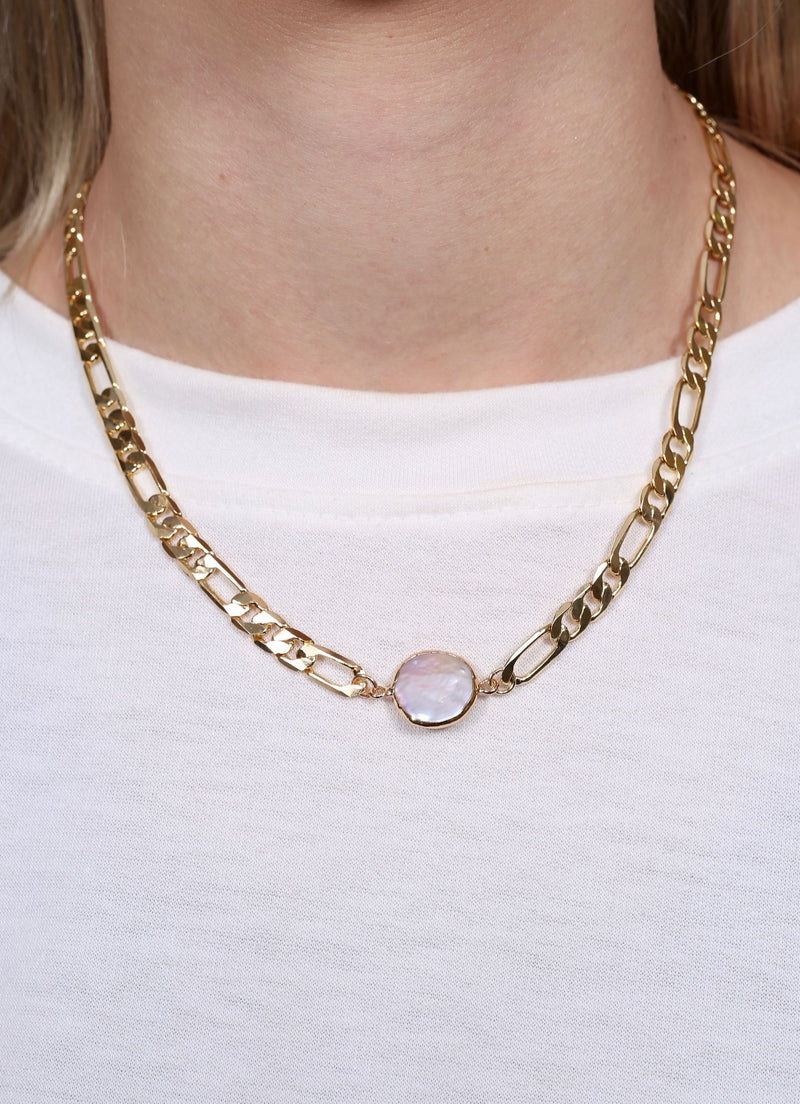 Yang Pearl Accent Link Necklace - Caroline Hill