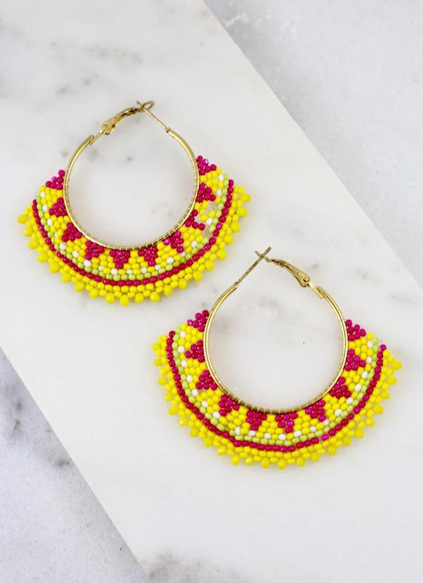 Yolanda Yellow Beaded Hoop - Caroline Hill