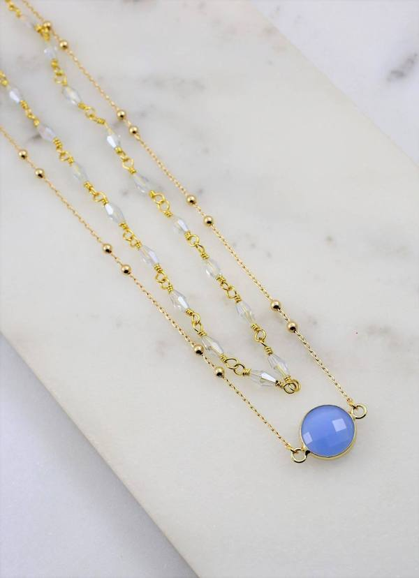 Yorke Layered Necklace With Accent Charm Periwinkle - Caroline Hill