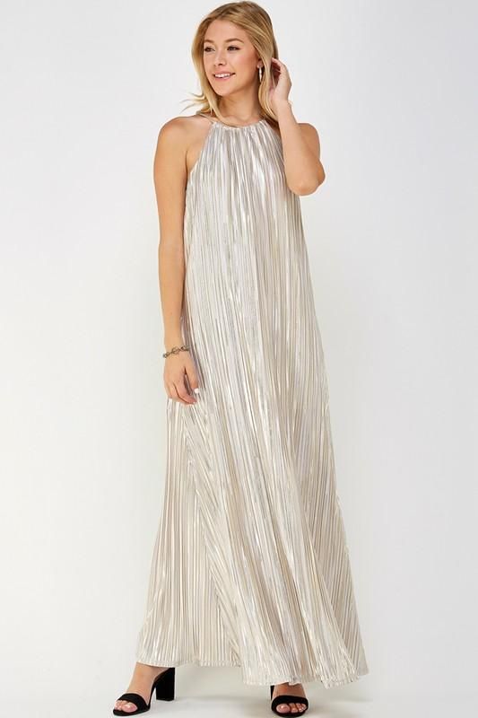 You're Cordially Invited Gold Maxi Dress - Caroline Hill