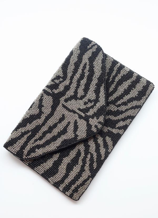 Zelly Beaded Zebra Stripe Crossbody Black - Caroline Hill