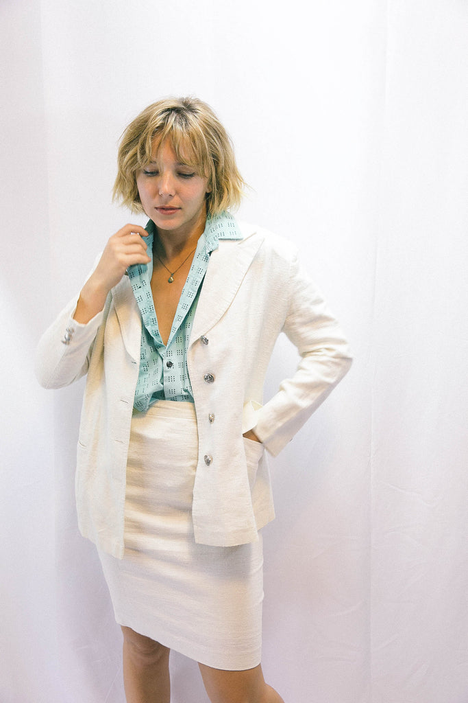 White Linen Skirt Suit