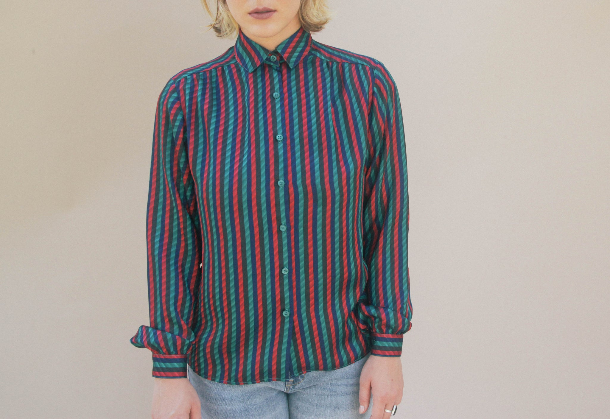 90's Striped Blouse