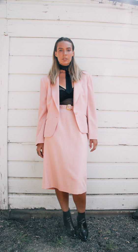 80's Pink Koret Wool Skirt Set