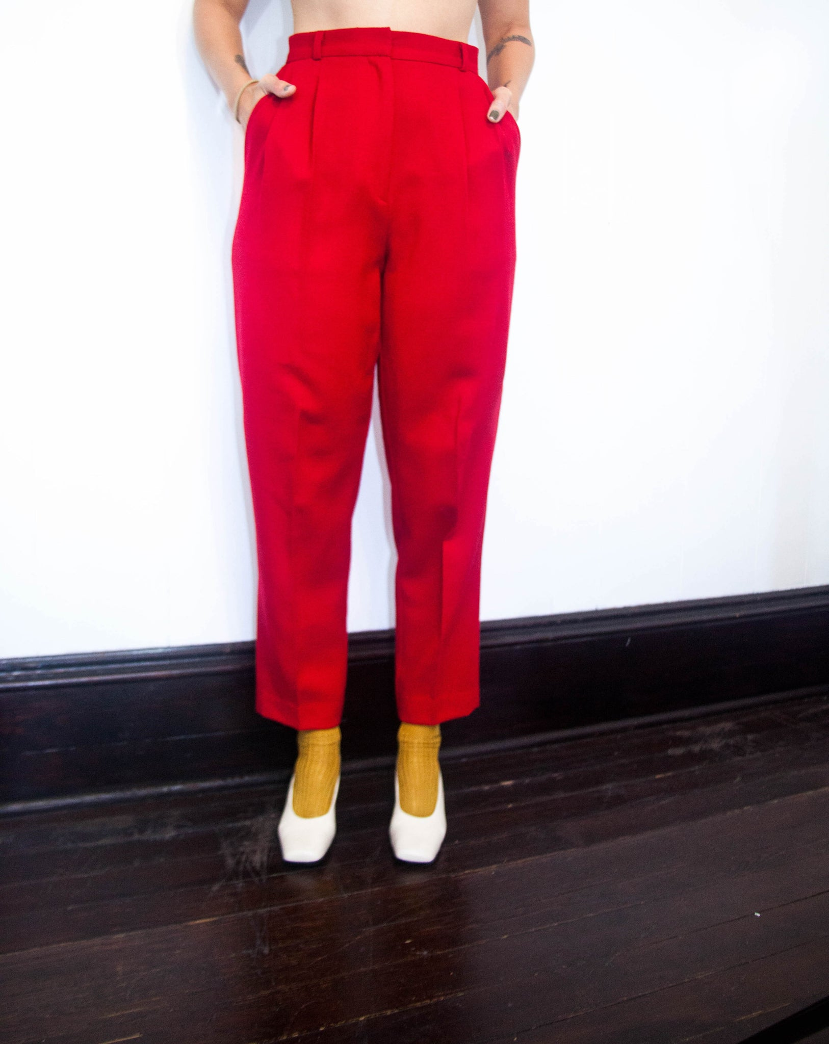 Red Wool Trousers