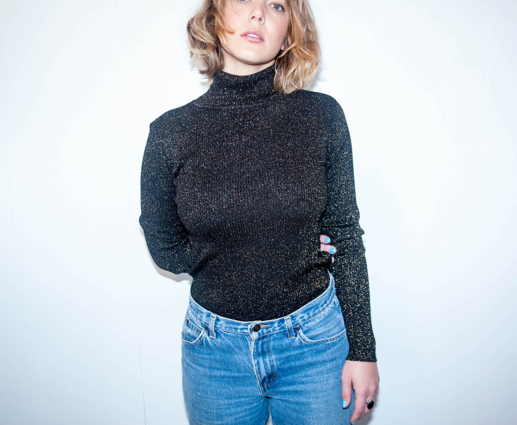Black Sparkly Turtle Neck