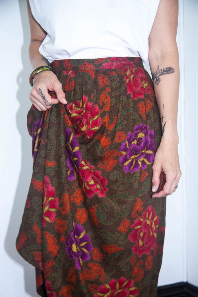 80s Green & Maroon Floral Skirt