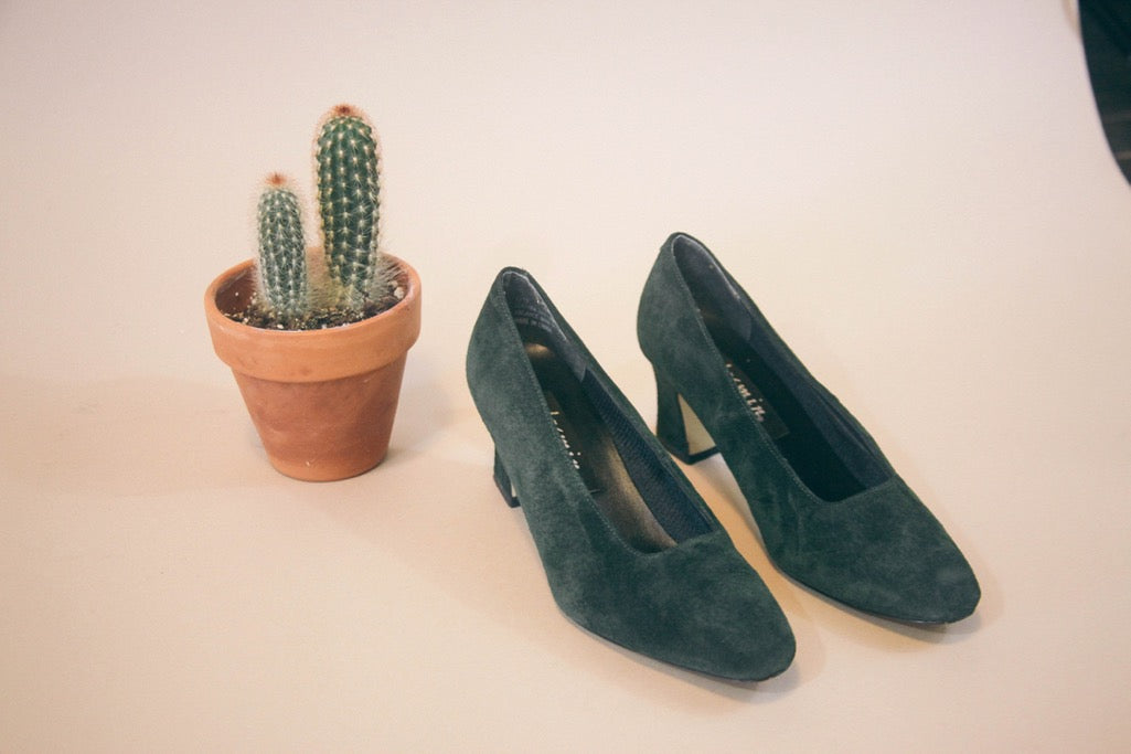 green suede low heel