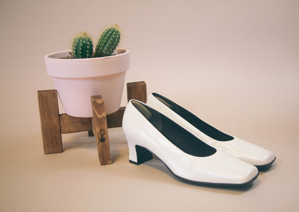 White Low Heel