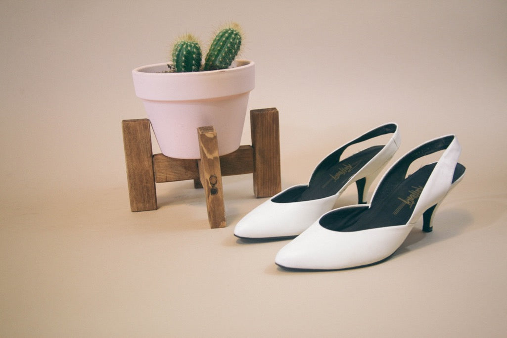 White Leather Slingback