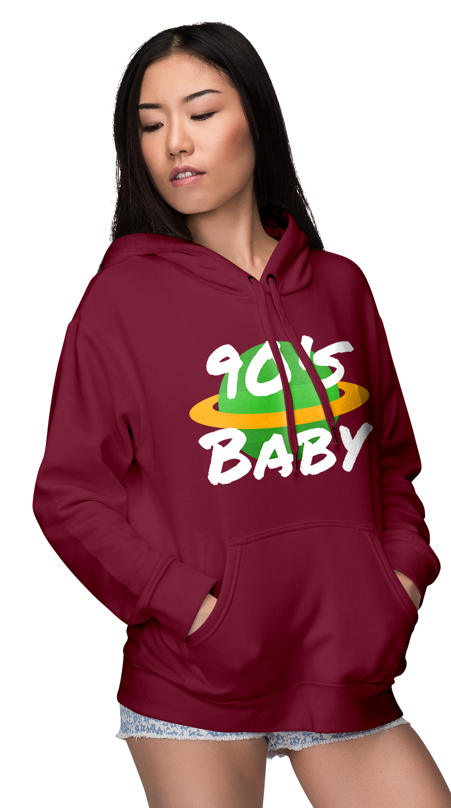 Maroon 90s Baby World Womens Hoodie | Hoodies | BFY Apparel | Streetwear & More