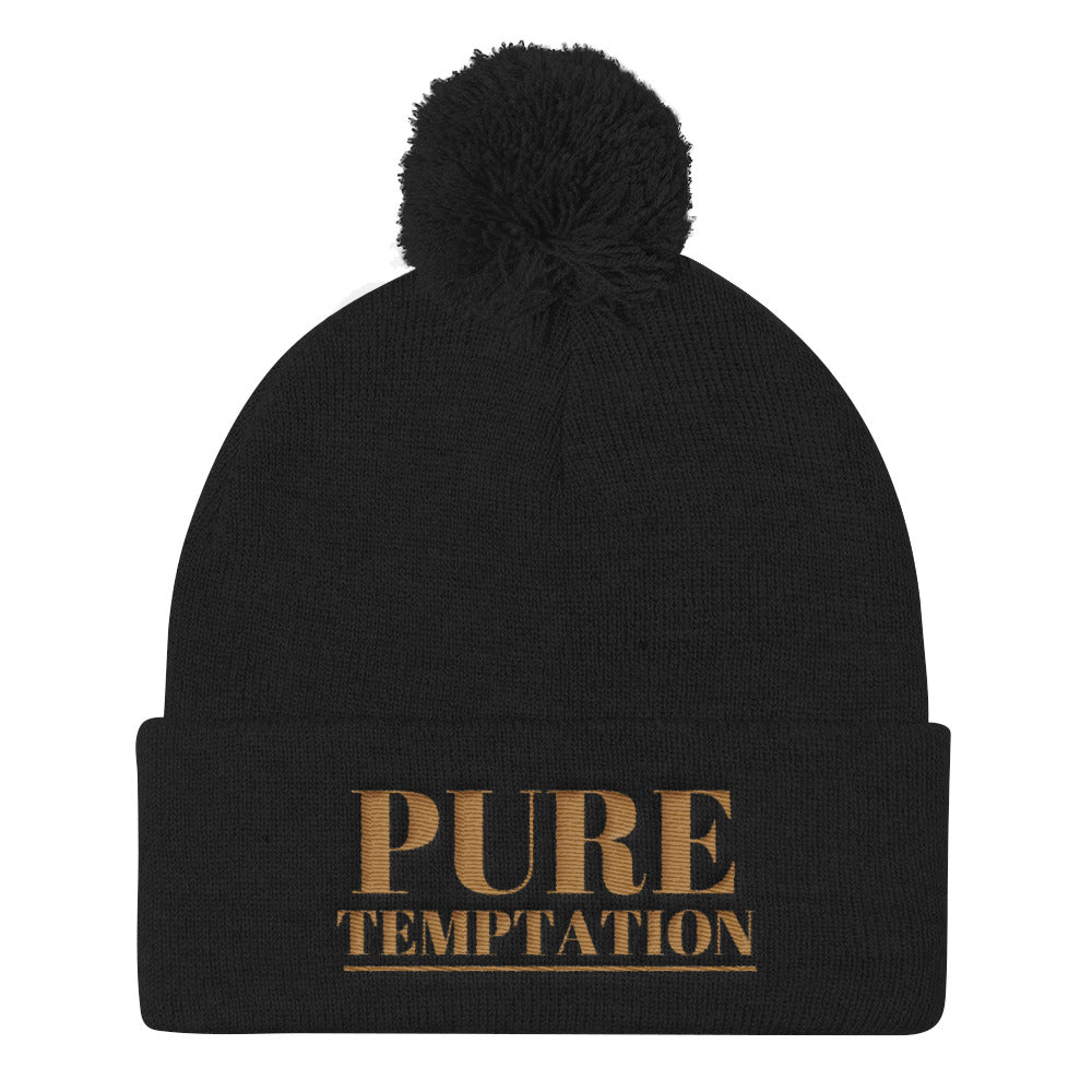 Gold Pure Temptation Pom Pom Knit Cap | Beanies | BFY Apparel | Streetwear & More