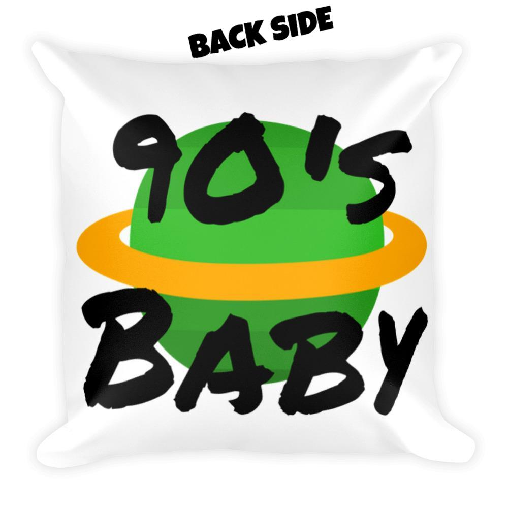 White 90s Baby World Square Pillow | Pillows | BFY Apparel | Streetwear & More