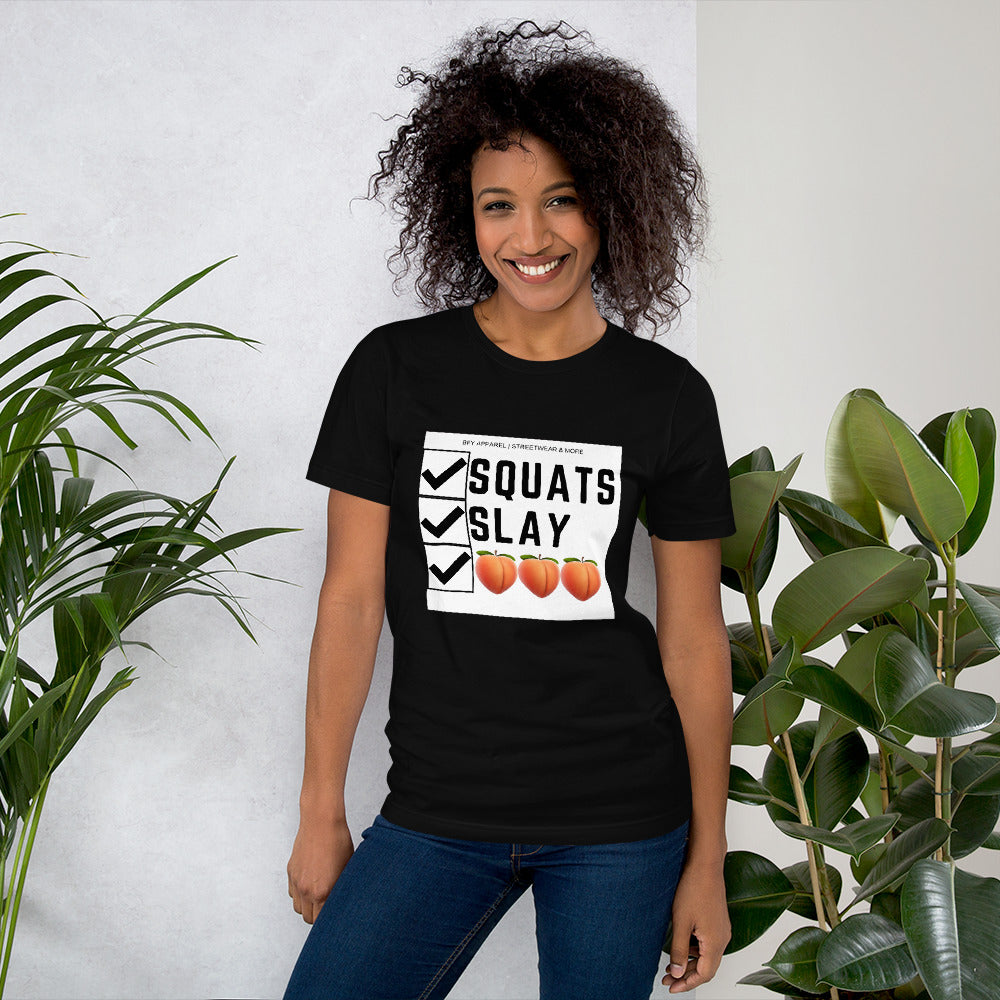 Squats, Slay, Juicy Booty Short-Sleeve Women T-Shirt |  | BFY Apparel | Streetwear & More