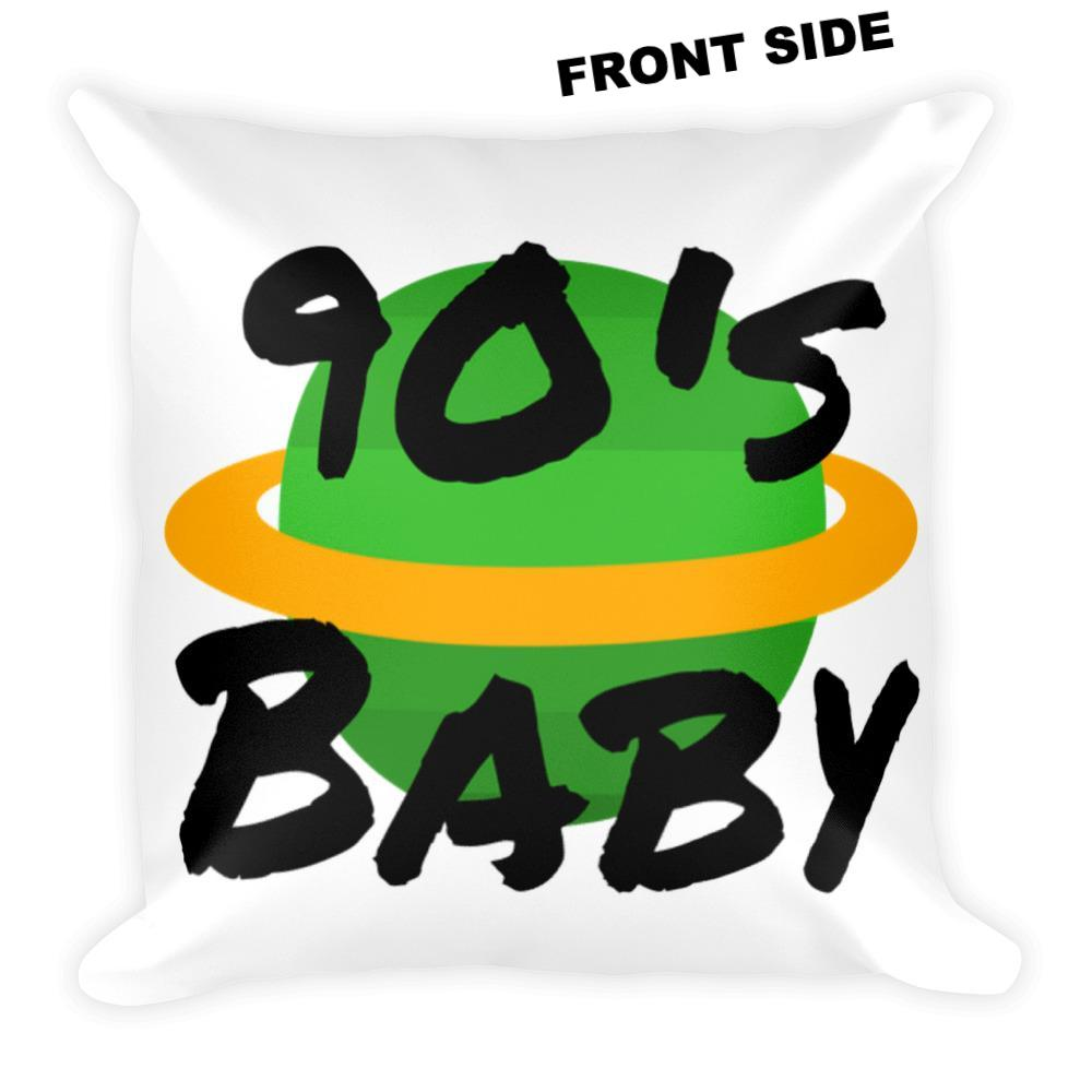 90's Baby World Square Pillow - BFY Apparel | Streetwear & More