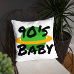 White 90s Baby World Square Pillow
