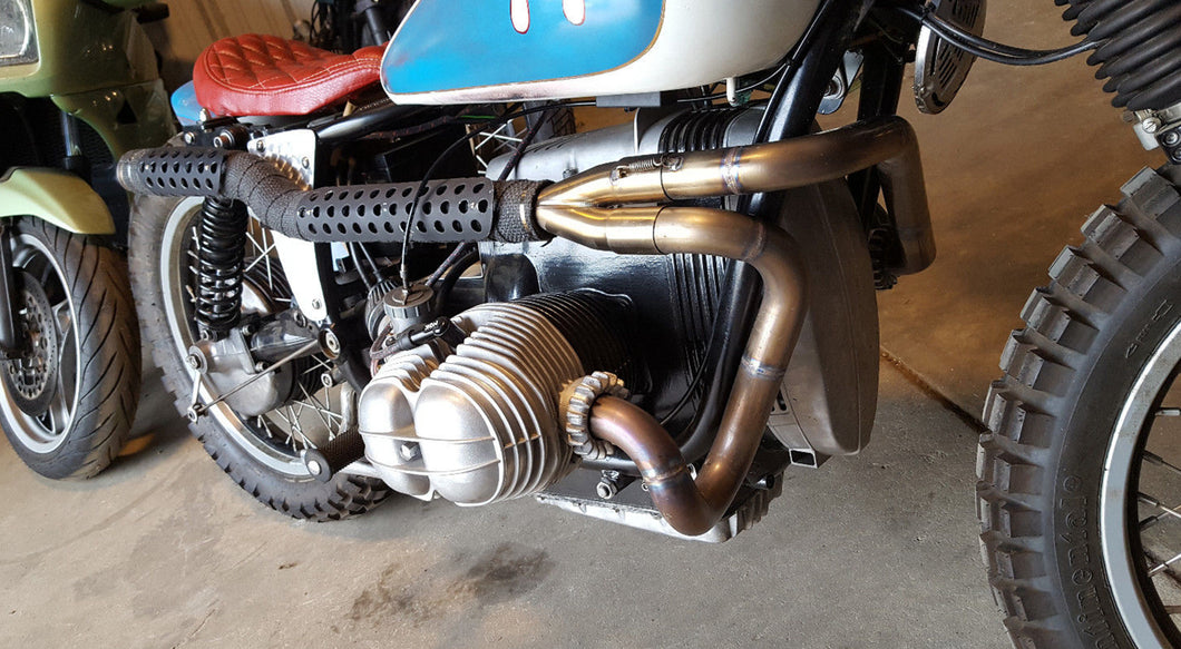 BMW R50 R60 R75 Airhead Exhaust System | Custom Stainless 2-into-1 High Pipe
