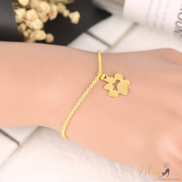 golden cat paw bracelet