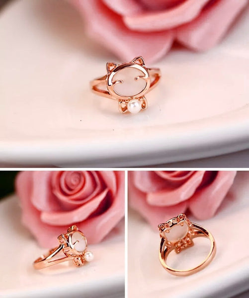 beautiful rose gold cat ring collage
