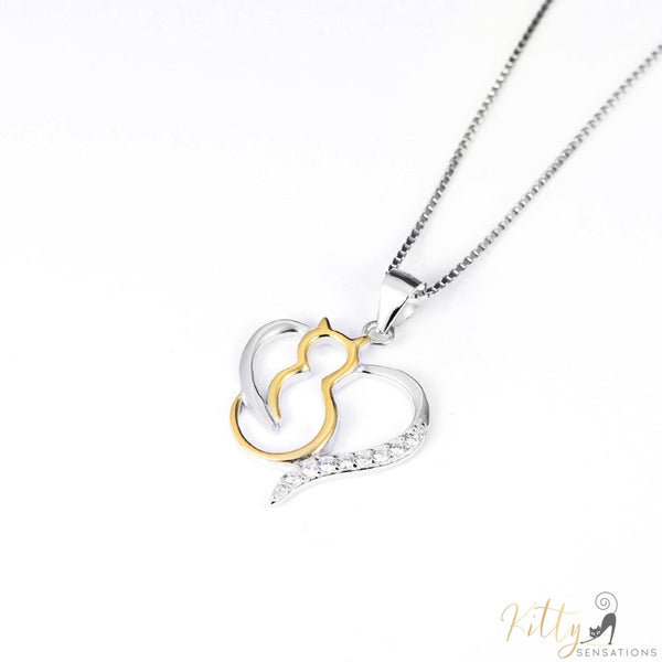 cute heart cat necklace