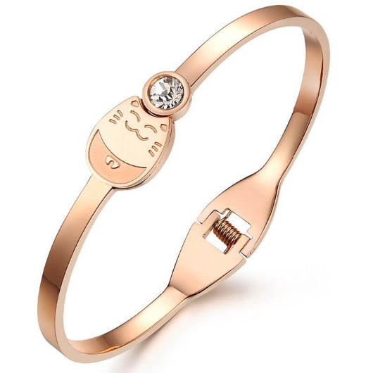Rose Gold Cat Bracelet with a Cubic Zirconia on white background kittysensations 2107716