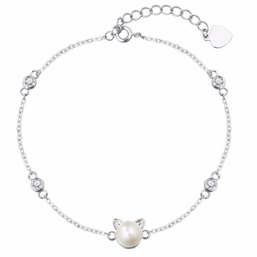 pearl cat bracelet in sterling silver kittysensations 22713001