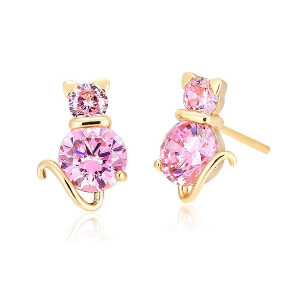 cat stud earrings with amethysts kittysensations