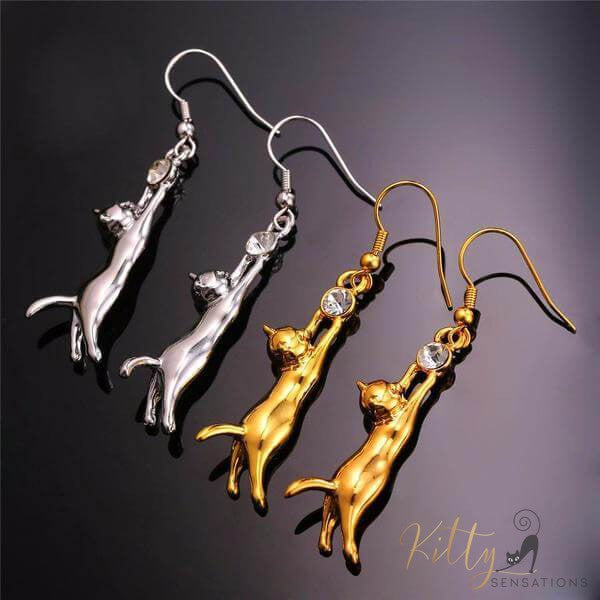 silver and golden cat earrings on black background