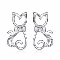 silver cat earrings on white background kittysensations 7394149-china