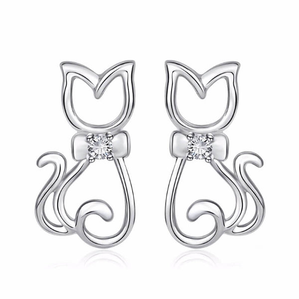 silver cat earrings on white background kittysensations