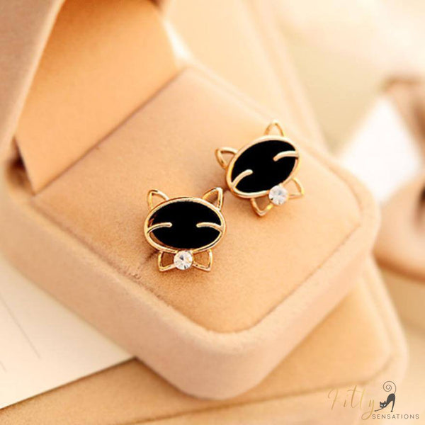 golden and black cat stud earrings in jewelry box