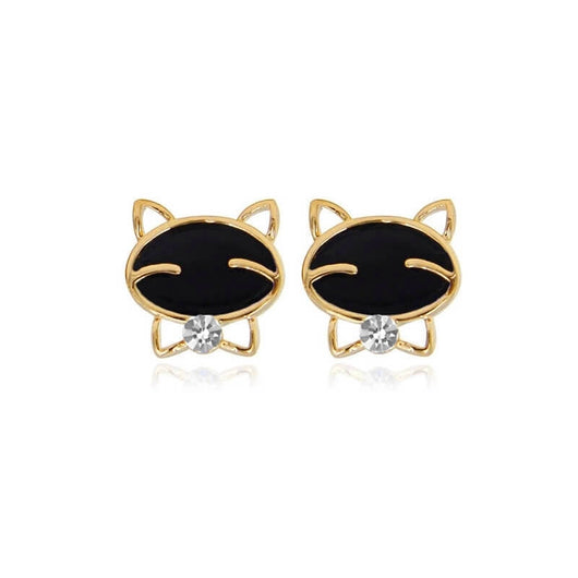 golden cat stud earrings on white background 4495248-gold-china