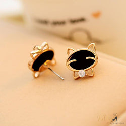cat stud earrings plated in gold kittysensations