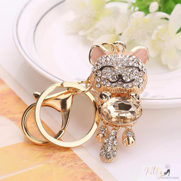 golden cat keychain with berg crystals